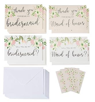 Amazon.com: Bridesmaid Propuesta y tarjeta de agradecimiento ...