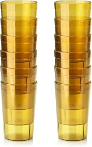 New Star Foodservice 46687 Tumbler Beverage Cup, Stackable Cups, Break-Resistant Commercial SAN Plastic, 9.5 oz, Amber, Set of 12
