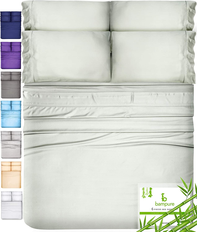 6 Piece Bamboo Sheets Queen Bamboo Sheets - 100% Organic Bamboo Bed Sheets Queen Sheet Set Cooling Sheets Queen Size Sheets Deep Pocket Queen Sheets Queen Bed Sheets Queen Size Cool Sheets Seaglass