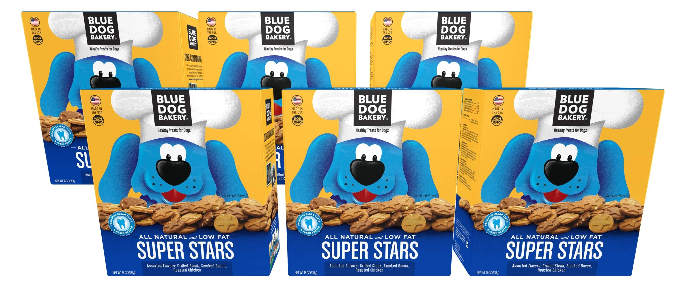 Blue Dog Bakery Natural Dog Treats, Super Stars, 18oz Pack of 6 by Blue Dog Bakery