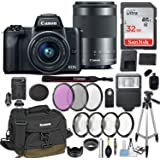 Canon EOS M50 Mirrorless Digital Camera with EF-M 15-45mm f/3.5-6.3 & EF-M 55-200mm f/4.5-6.3 IS STM Bundle Black + Canon Gadget Bag + 32GB Memory + Professional Accessories - Filters, Macros & More.