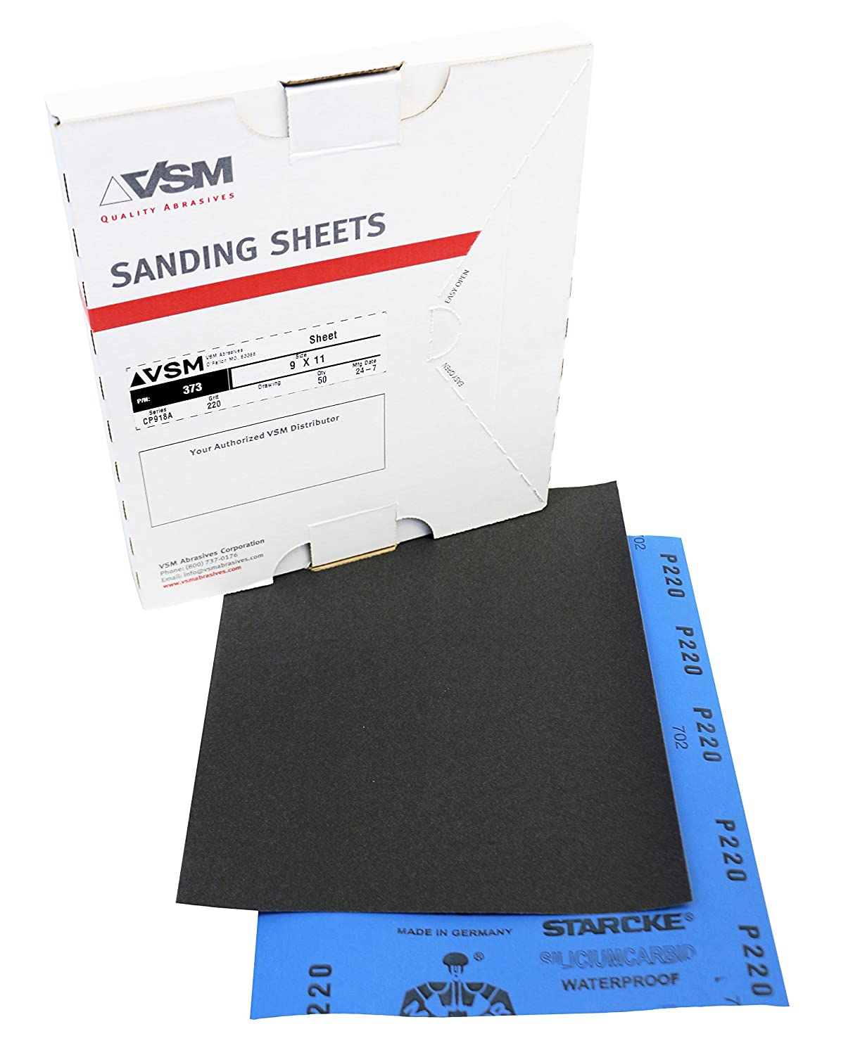9 x 11 VSM 376 Abrasives Waterproof Sheet 9 x 11 VSM Abrasives Co. Pack of 50 220 Grit A Weight Paper Silicon Carbide
