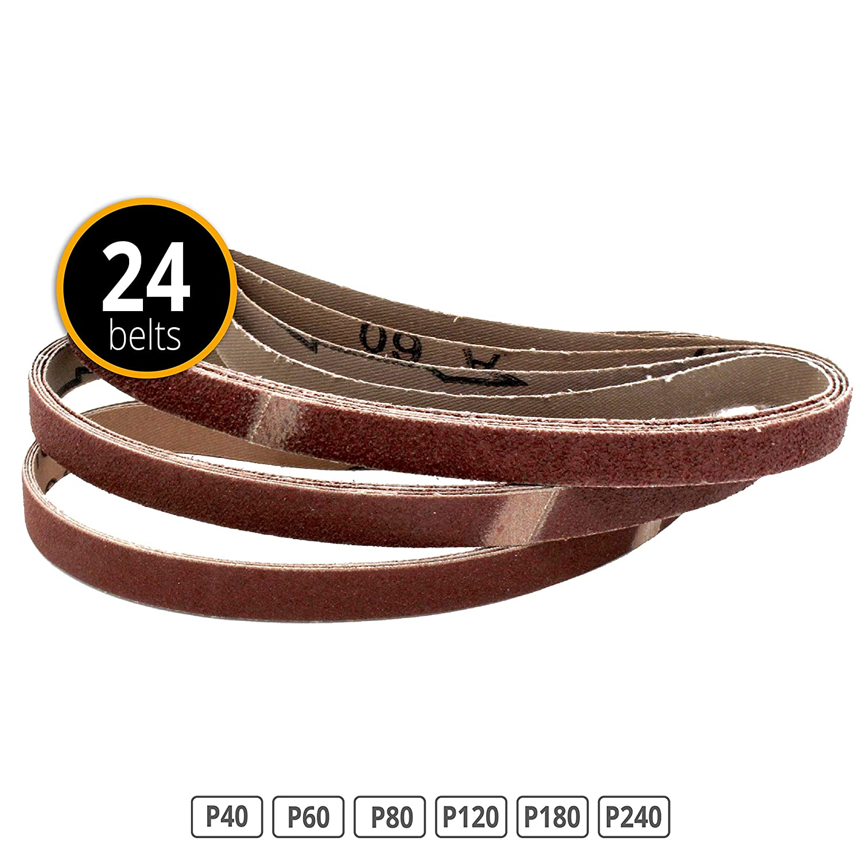 24 Piece Fabric Sanding Belts 13 x 457 mm Grit Each 4 x 40/60/80/120/240 Black and Decker Power File FD-Workstuff