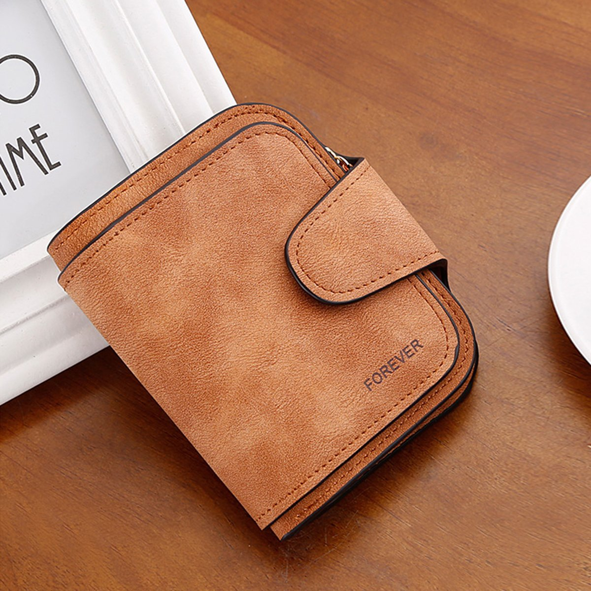 Wallet for Women Leather Clutch Short Purse Ladies Credit Card Holder Organizer with Zip Pocket - Brown by EUGO (Image #4)