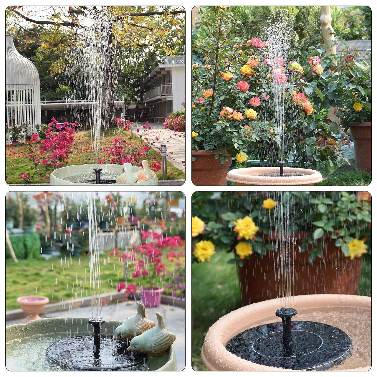 LATITOP Solar Fountain Solar Powered Fountain with Battery Backup for Bird Bath 2.4w Outdoor Solar Garden Fountain for Pond Pool Fish Tank Lawn