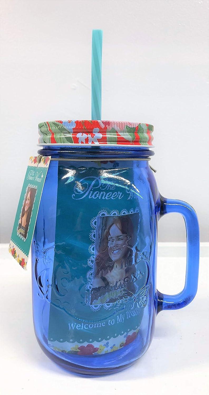 "The Pioneer Woman""Sapphire"" Glass Mason Jar w/Lid & Straw 32 oz"