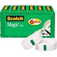 Scotch Magic Tape, Standard Width, Engineered for Mending, 3/4 x 1000 Inches, Boxed, 6 Rolls (810K6)