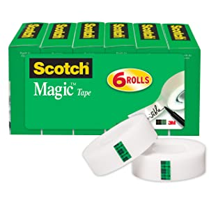Scotch Brand Magic Tape, Versatile, Invisible, Trusted Favorite, 3/4 x 1000 Inches, Boxed, 6 Rolls (810K6)