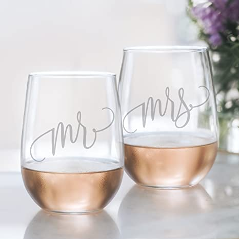 mr and mrs wine glass set 20oz etched stemless wine glasses for couples perfect