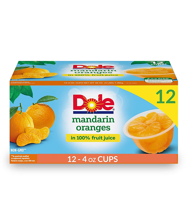 Dole Fruit Bowls, Mandarin Oranges in 100% Fruit Juice, 4oz, 12 cups