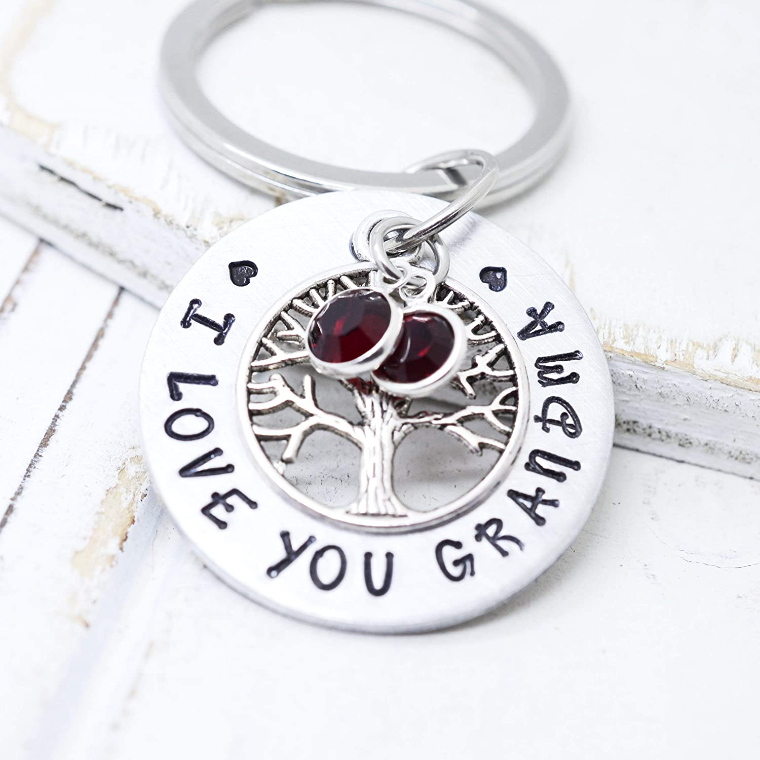 Personalized Family Tree Keychain with Kids Birthstones Mother/'s Day Gift For Mom or Grandma