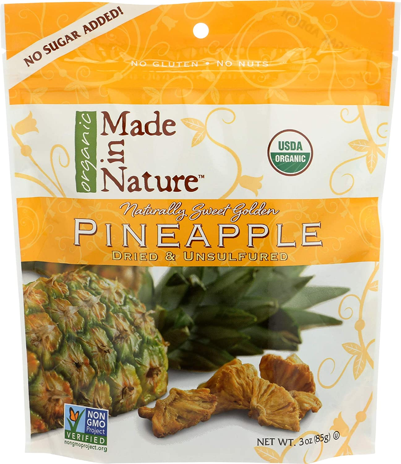 Made In Nature Organic Pineapple, Dried and Unsulfured, 3 Ounce Bags