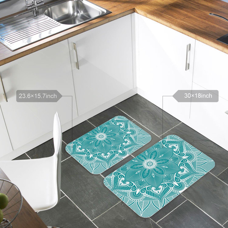 Amazon.com: Doormat Turquoise Mandala Floral Printed Entrance Floor ...