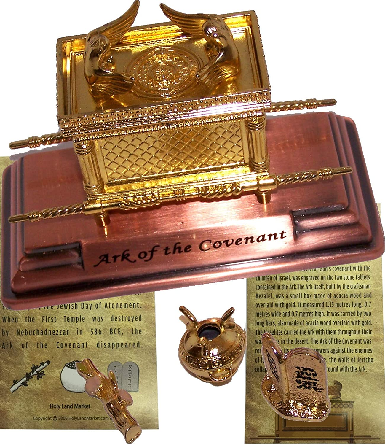 Mini The Ark of The Covenant gold Plated with Ark Contents Replica (Aaron Rod, Tablets and Manna) - Medium