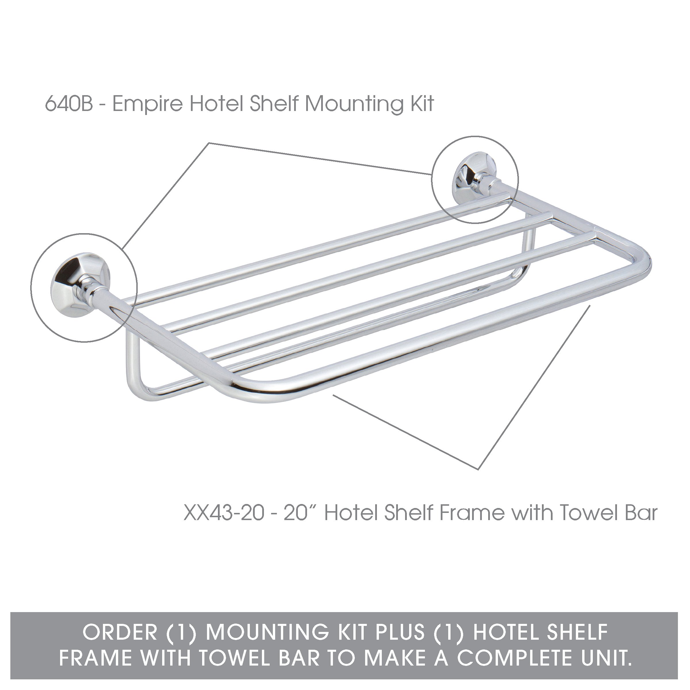 Ginger Empire Hotel Shelf Mounting Kit - 640B/PC - Wall Mounted Towel Rack Trim Brackets - Polished Chrome - Mounting Kit Only by Ginger (Image #2)