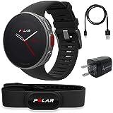 Polar Vantage V Pro Multisport GPS Watch Wearable4U Wall Charging Adapter Bundle (Black HR)