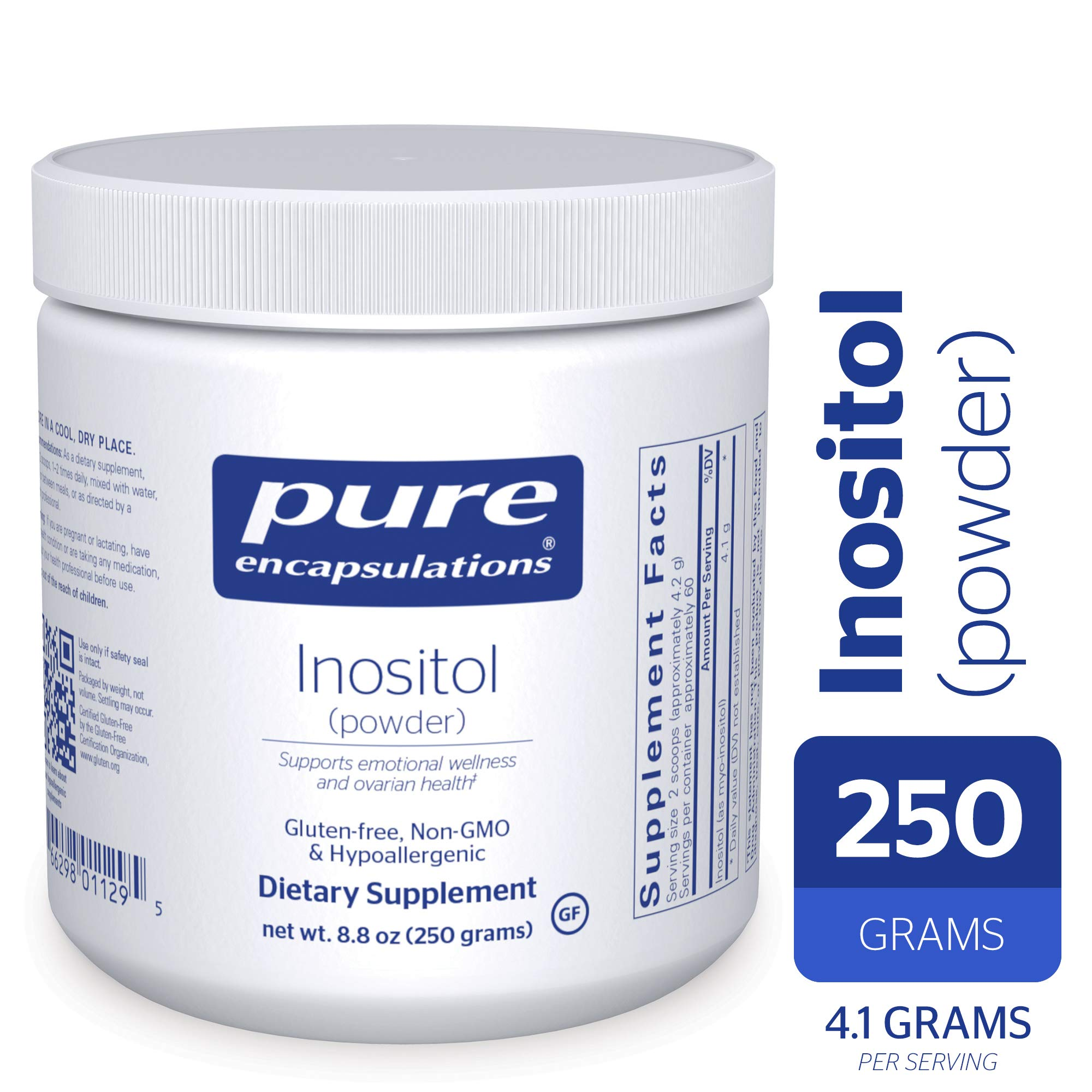 Pure Encapsulations - Inositol (Powder) - Hypoallergenic Supplement Supports Healthy Mood, Emotional Wellness and Behavior, and Ovarian Function* - 250 Grams by Pure Encapsulations