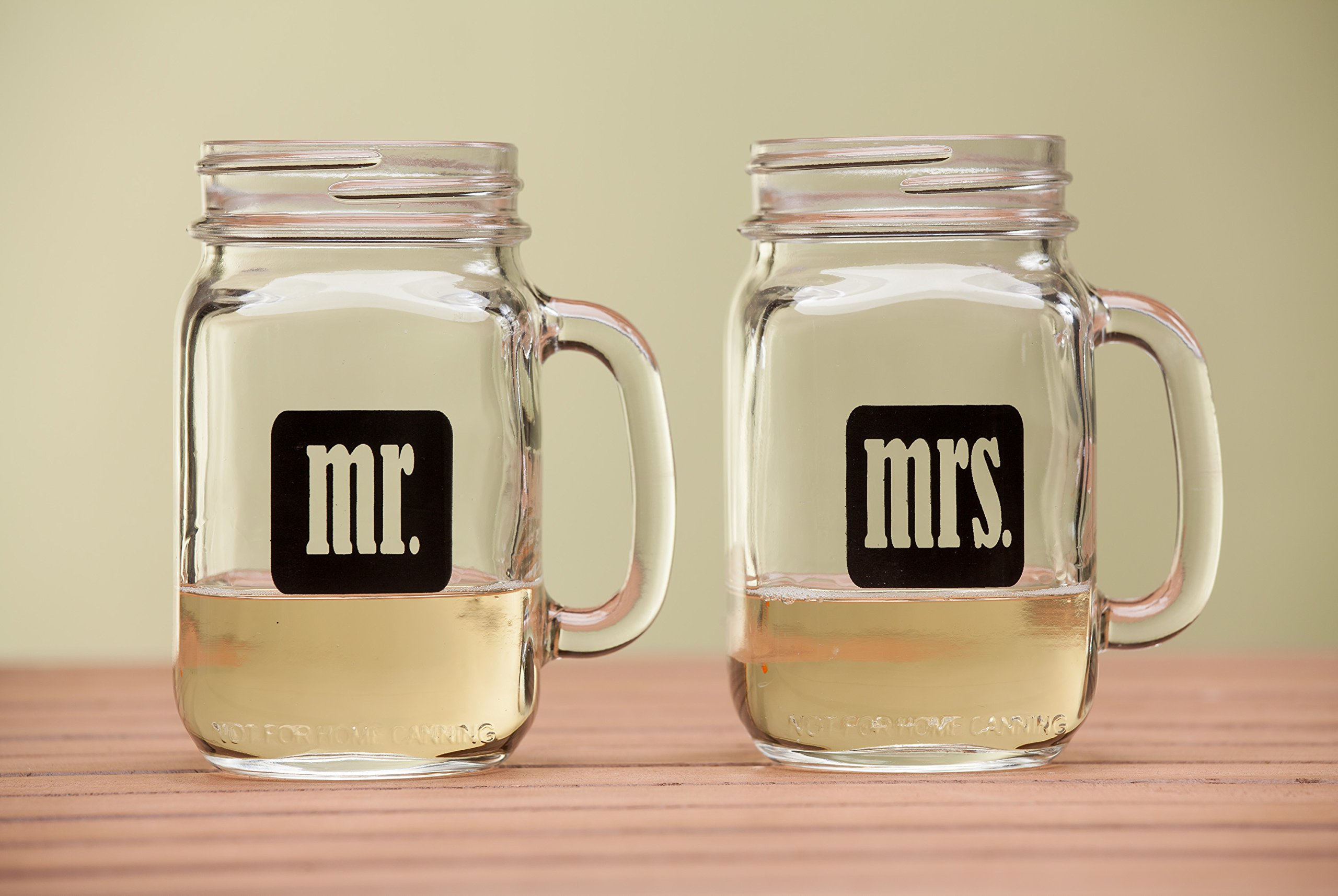Mr. & Mrs. Mason Jars - Glass Drinking Glasses Set With Gift Box - For Couples - Engagement, Wedding, Anniversary, House Warming, Hostess Gift, 16 oz by Smart Tart Design (Image #4)
