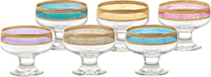 Lorren Home Trends Pedestal Melania Collection Bowls, Set of 6, Multicolored