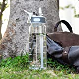 BOTTLED JOY Water Bottle Insulated Water Bottle Sport Water Bottles with Straw Plastic Water Bottle Blender Bottle Protein Shaker Bottle Camping Bicycle Handle 28 oz 800ml (Clear)