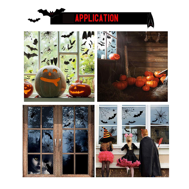 QIMMU 448 Pezzi Decorazione di Halloween Festa Pipistrelli//Ragno//Ragnatela Halloween Adesivi Elettricit/à Statica Halloween Sticker Accessori Halloween Finestra Adesivi per Halloween Party Decorazione