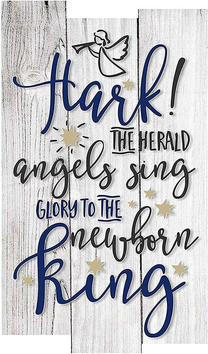 Zacathan432 Wood Signs for Home Decor, Hark The Herald Angels Sing Rustic Wall Sign, 10×16 Inch