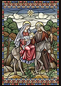 Toland Home Garden Stained Glass Nativity 28 x 40 Inch Decorative Jesus Mary Joseph Christmas Star House Flag - 109375