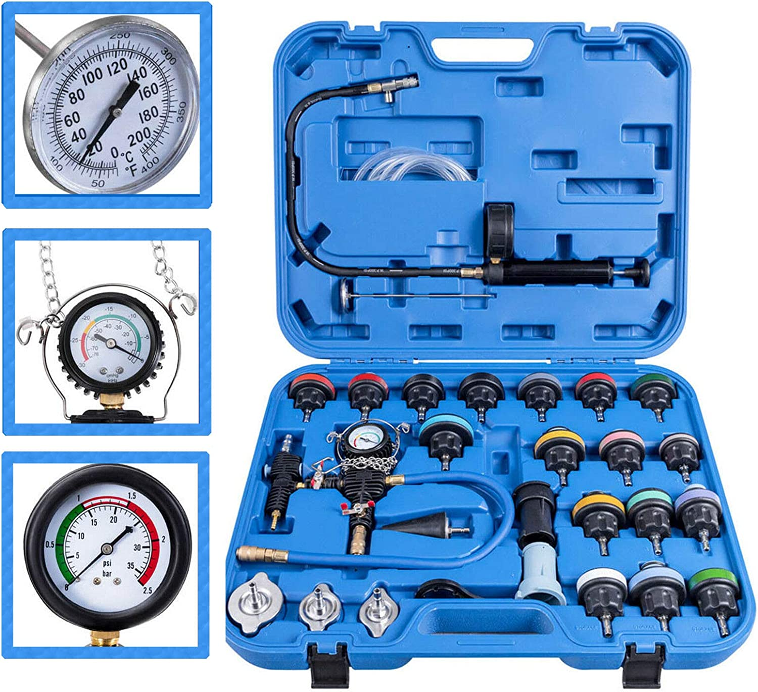 NuaDua Car Radiator Pressure Tester and Vacuum Type Cooling System Purge Refill Kit 28pcs with Case