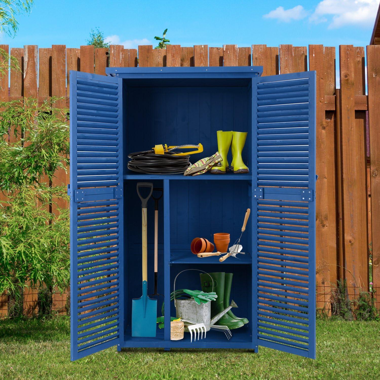 Outsunny Cobertizo de Madera Caseta de Exterior Armario para Herramientas de Jardinería Persiana Delantera Compartimientos de Diferentes Tamaños 87x46.5x160cm Madera Maciza: Amazon.es: Jardín