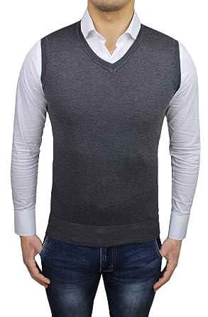 meticolosi processi di tintura design moderno prevalente Gilet smanicato uomo grigio slim fit cardigan maglioncino ...