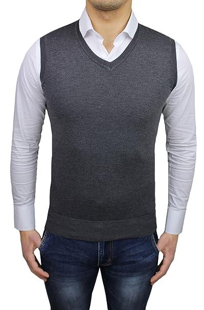 wholesale dealer 70997 b3749 Gilet smanicato uomo grigio slim fit cardigan maglioncino ...