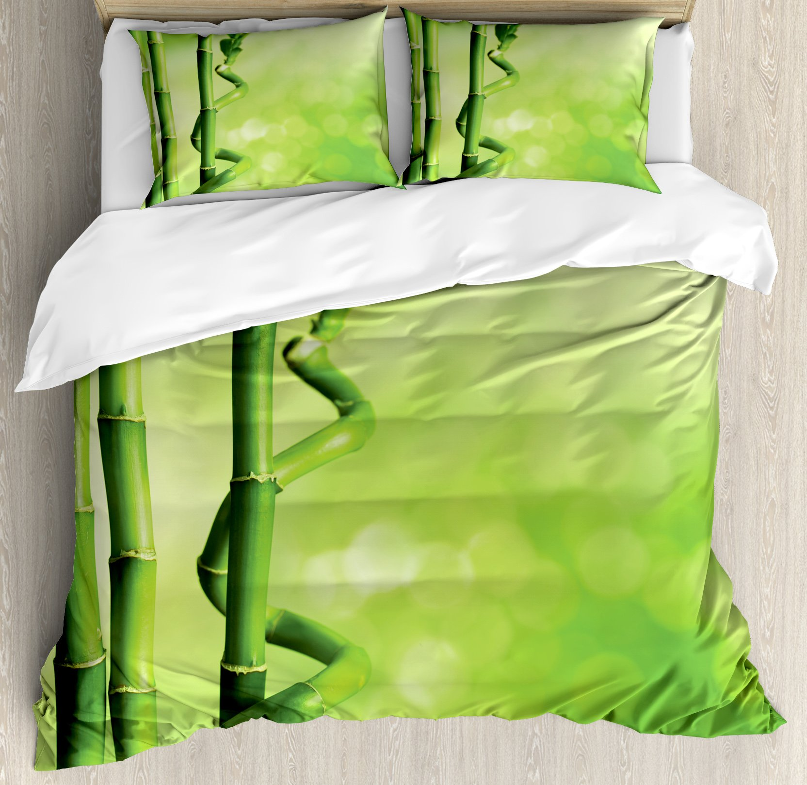 Green King Size Duvet Cover Set by Ambesonne, Bamboo Stems Nature Ecology Sunbeams Soft Spring Scenic Spa Health Relaxation, Decorative 3 Piece Bedding Set with 2 Pillow Shams, Green Light Green
