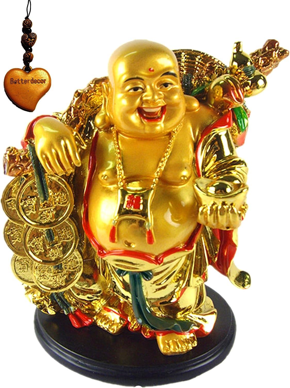 Betterdecor Feng Shui Golden Laughing Happy Buddha Holding Ingot Statue Decoration Charm