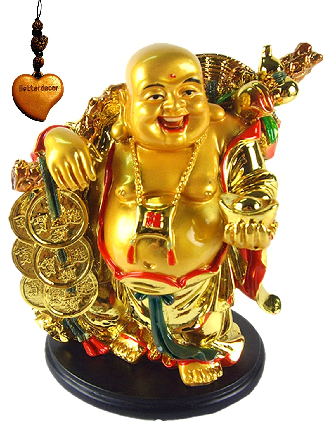 Gold Resin Laughing Buddha Riding On Elephant Feng Shui Statue Sculpture Home Decoration
