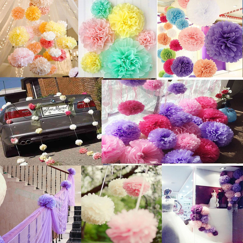 Freedom-vp 5pcs 10pcs 25CM DIY Art Tissue Paper Flower Decoration Baby Girls Room Paper Pom Poms Crafts Flower For Party Wedding Christmas Birthday 5pcs, Pink