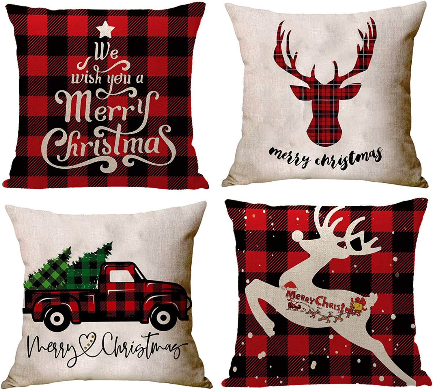 """YZEECOL Christmas Pillow Covers Merry Christmas and Reindeer Santa Clause Design Xmas Tree Decorations for Home Decor Farmhouse Buffalo Plaid Cushion Cover Throw Pillow Covers 18""""x18"""" Set of 4 Red"""