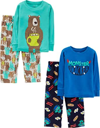 Simple Joys by Carter's 4-Piece Set Infant-and-Toddler-Pajama-Sets, Monster/Bear, 3 años