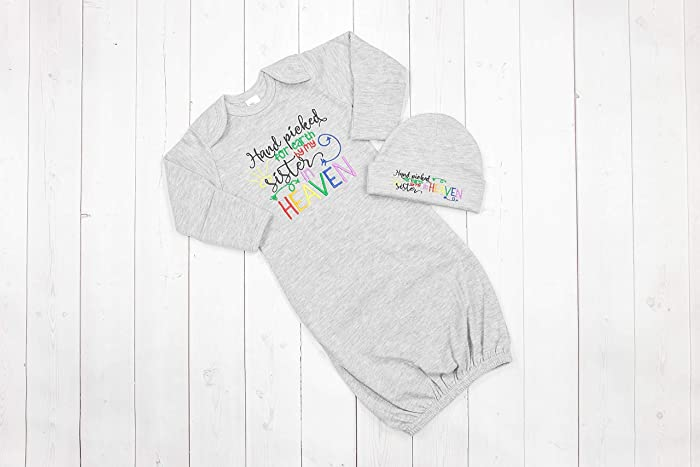 ea22b0a2559 Amazon.com  Newborn Baby Unisex Infant Gown and Hat Set- Rainbow Baby Hand  Picked by my Sister From Heaven - Baby Shower Gift - Coming Home Outfit   Handmade