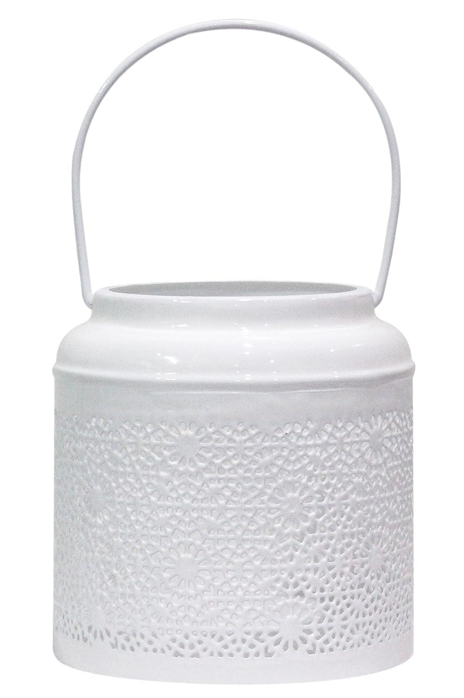Marrakesch Orient & Mediterran Interior Lanterna portacandele Orientale in Metallo - Portacandele per Giardino - Baki Bianco - trasmettere Una buona Atmosfera - Passare Un Buon Momento in Giardino