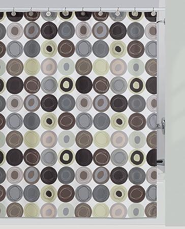 Creative Bath Products Dot Swirl Shower Curtain, Citron
