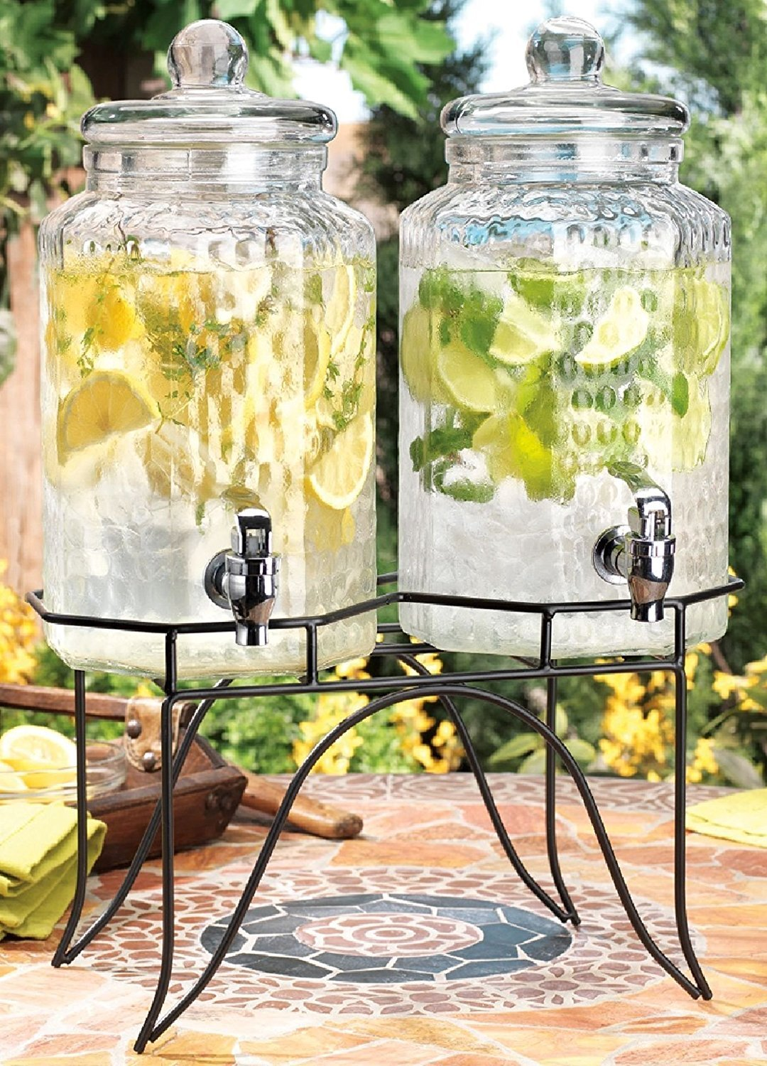 Drink dispenser Del Sol Hammered Jug Beverage Dispenser With Rack, Set Of 2