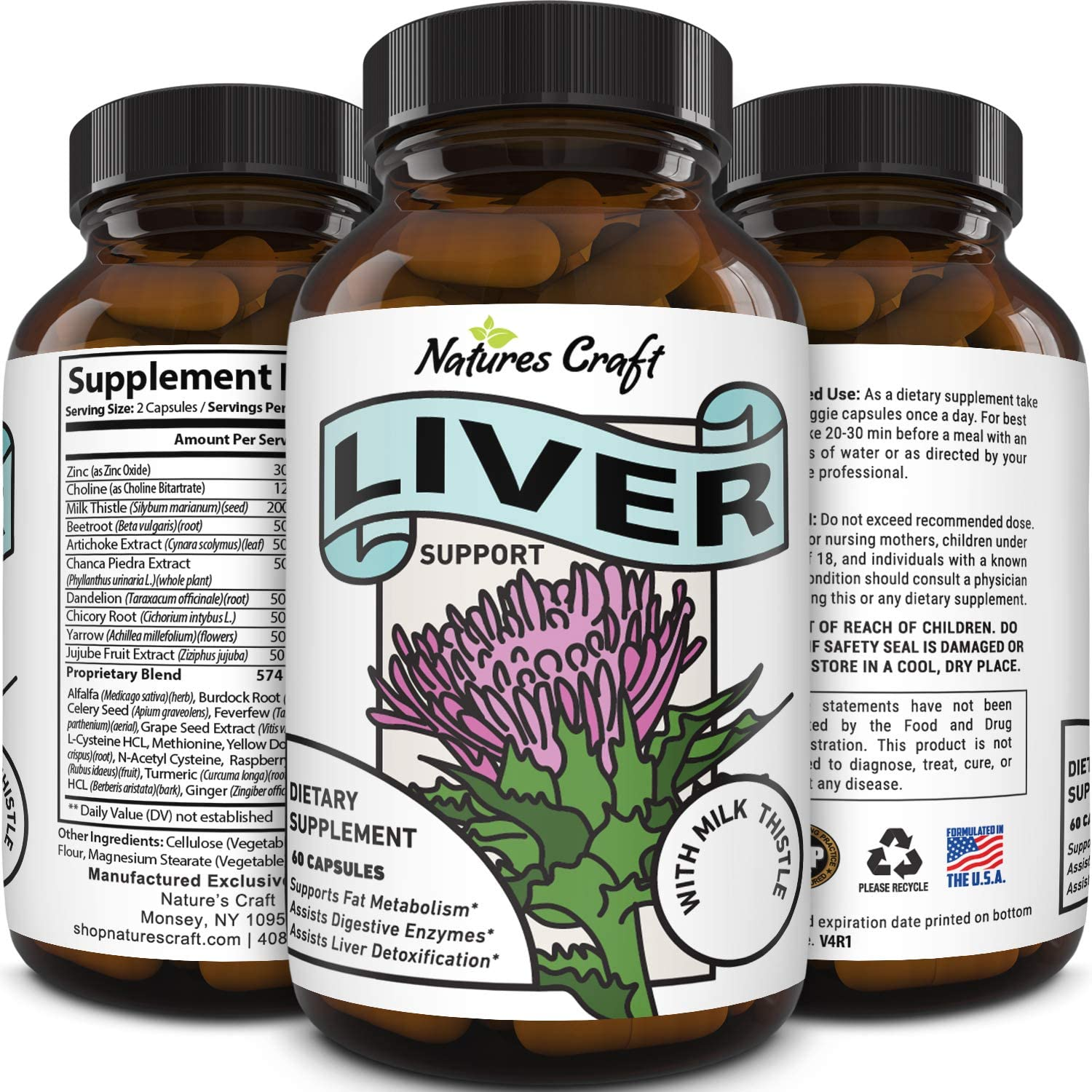 Best Liver Supplements with Milk Thistle - Artichoke - Dandelion Root Support Healthy Liver Function