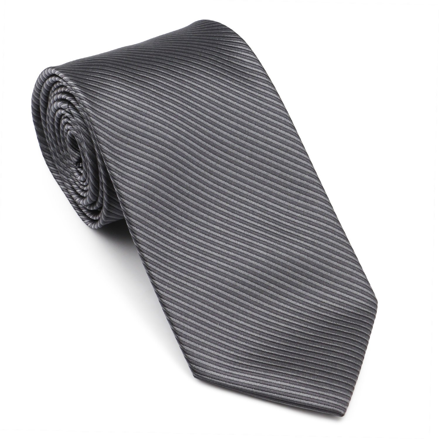 Mens Necktie Classic Striped Neckties, 54'' Long Polyester Solid Grey Neck Tie, Seasonless Formal Casual Business Necktie by Segbeauty (Image #2)