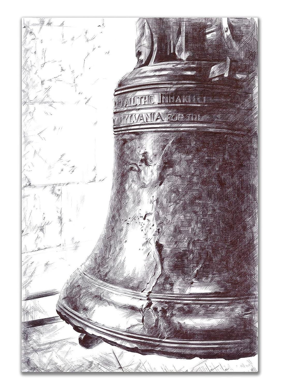 Liberty Bell Philadelphia Wall Decor - 8x10in UNFRAMED Art Print - American Symbol Wall Art Black & White - Home & Office