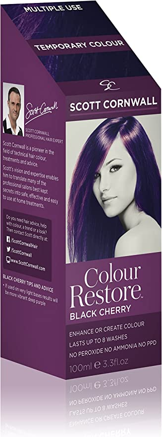 Scott Cornwall Color Restore Black Cherry Temporary Toner Dye - Caoba Plum Black PPD Peroxide Free - Acondicionador de color cereza vegano para ...