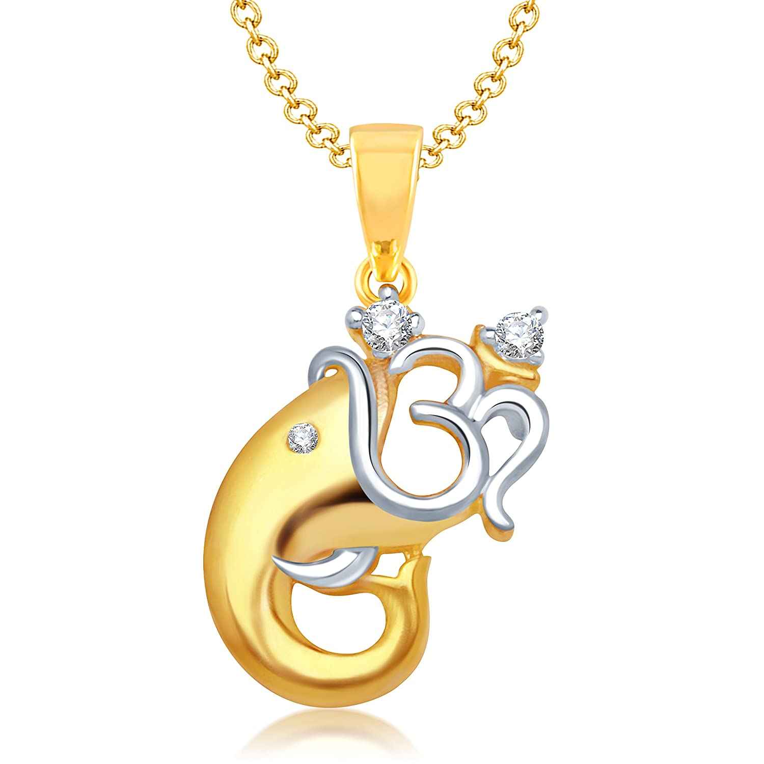 Buy vk jewels om vakratund gold and rhodium plated alloy god buy vk jewels om vakratund gold and rhodium plated alloy god pendant for men women made with cubic zirconia p1128g vkp1128g online at low prices in mozeypictures Image collections