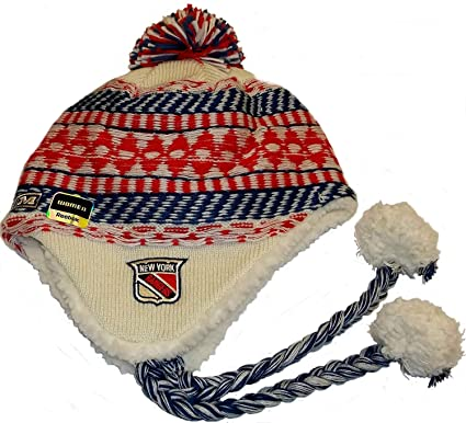 new style 976b6 e68d5 Image Unavailable. Image not available for. Color  CCM NHL New York Rangers  Tassel Pom Knit Hat ...