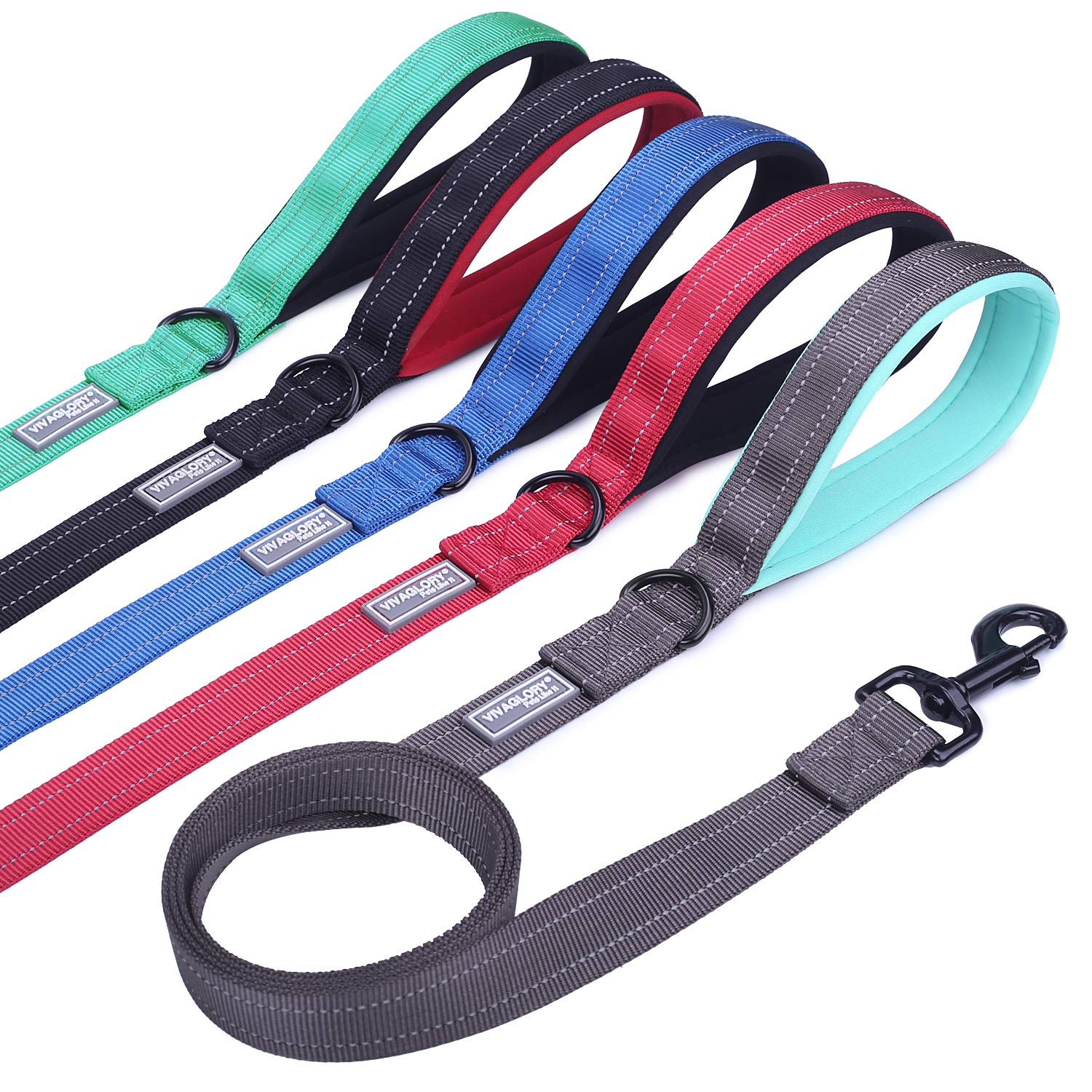 Vivaglory Dog Training Leash with Padded Handle, Heavy Duty 6ft Long Reflective Nylon Leash Walking Lead for Medium to Large Dogs, Grey by Vivaglory