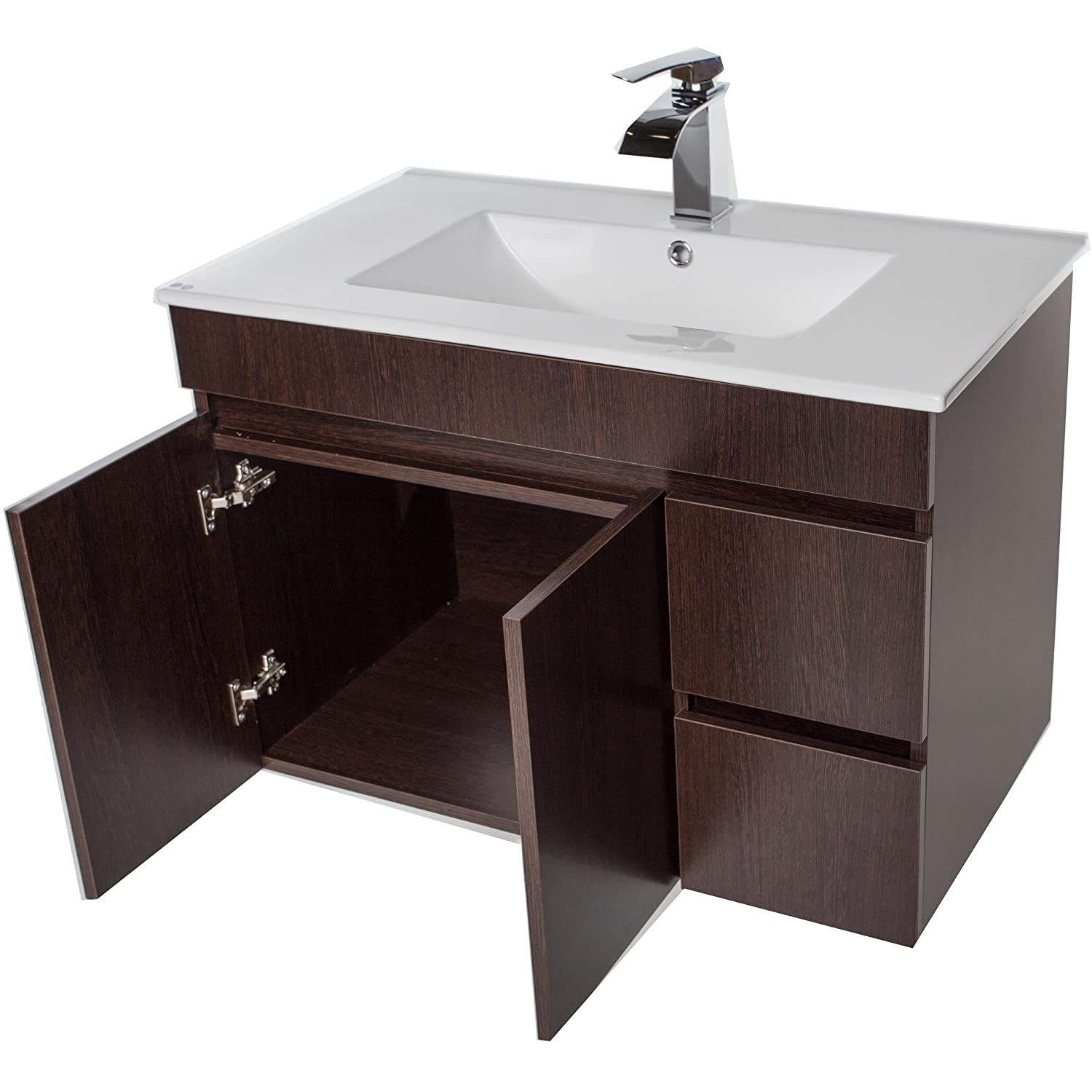 Strato Wall Mounted Bathroom Vanity Cabinet Set Bath Furniture With