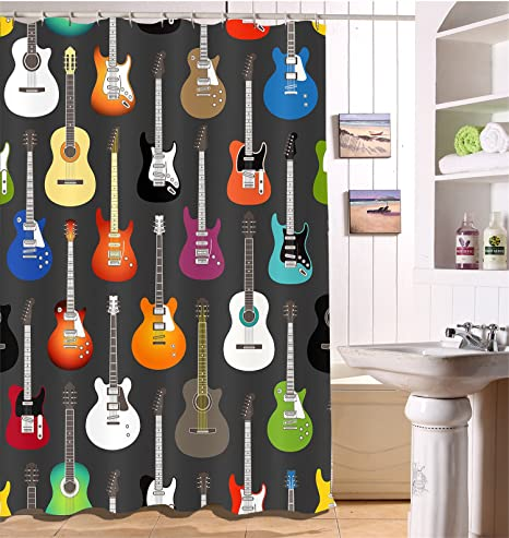 LB Musical Instruments,Guitar Shower Curtain Home Decor,150W x180H ...